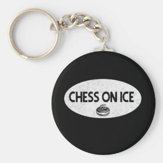 Chess on Ice Curling Keychain