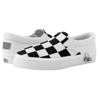 Chess Pattern Contrast Cool Minimal Black White Printed Shoes