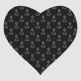 Chess Pattern in Black and White. Heart Sticker