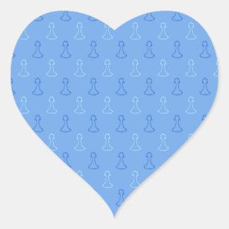 Chess Pattern in Blue. Heart Sticker