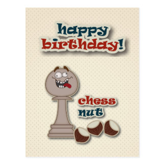 Chess Pawn, Chess Nuts and Chestnuts Birthday Card Postcard