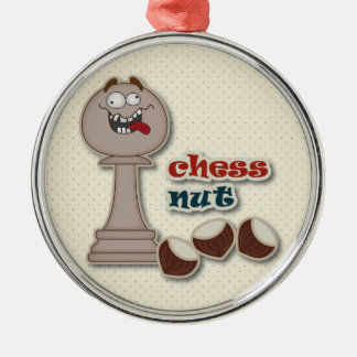 Chess Pawn, Chess Nuts and Chestnuts Round Metal Christmas Ornament