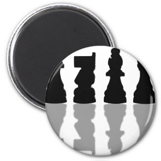 Chess peices reflection 6 cm round magnet