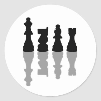 Chess peices reflection classic round sticker