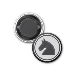 Chess Piece Black Knight 3 Cm Round Magnet
