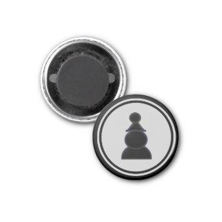 Chess Piece Black Pawn 3 Cm Round Magnet