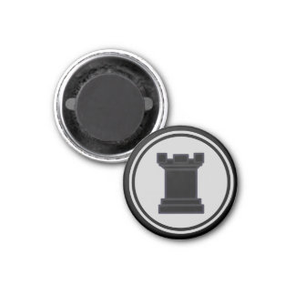 Chess Piece Black Rook 3 Cm Round Magnet