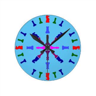 Chess Piece Design Round Clock