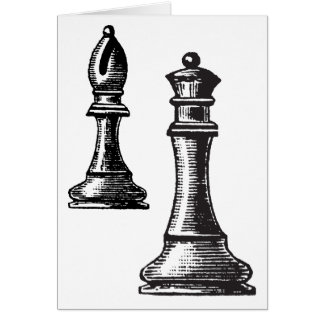 Chess piece greeting card, blank any occasion card
