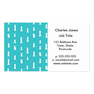 Chess piece pattern - teal blue business card template