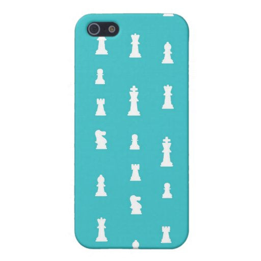 Chess piece pattern - teal blue iPhone 5 covers