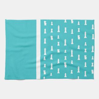 Chess piece pattern - teal blue tea towel