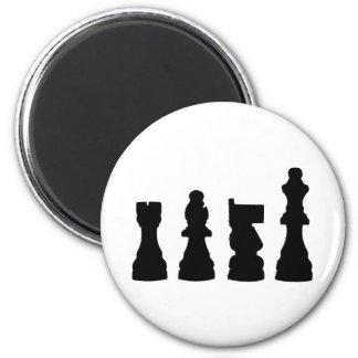 Chess piece silhouette design 6 cm round magnet