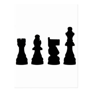 Chess piece silhouette design postcard