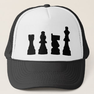 Chess piece silhouette design trucker hat