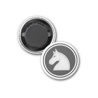 Chess Piece White Knight 3 Cm Round Magnet