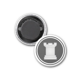 Chess Piece White Rook 3 Cm Round Magnet