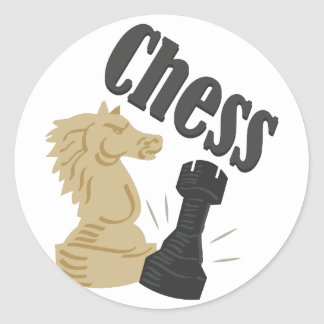Chess Pieces Classic Round Sticker