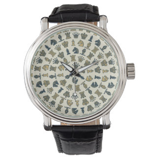 Chess Pieces in Circles Watch