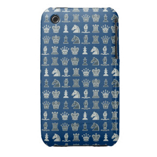 Chess Pieces in Rows Blue iPhone 3G/3GS Case iPhone 3 Cases