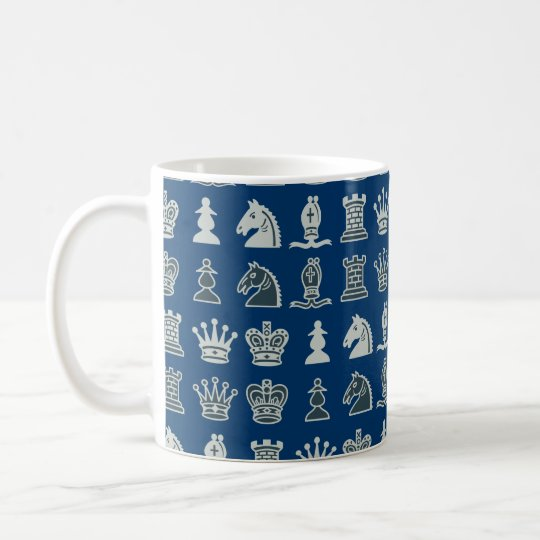 Chess Pieces in Rows Blue Mug