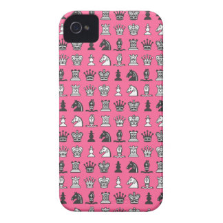 Chess Pieces in Rows Pink iPhone 4 Case