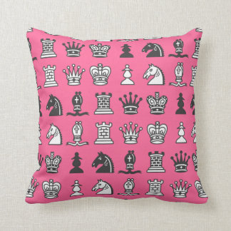 Chess Pieces in Rows Pink Pillow