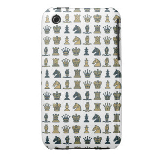 Chess Pieces in Rows White iPhone 3G/3GS Case iPhone 3 Covers