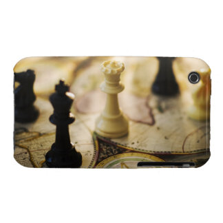 Chess pieces on old world map iPhone 3 covers
