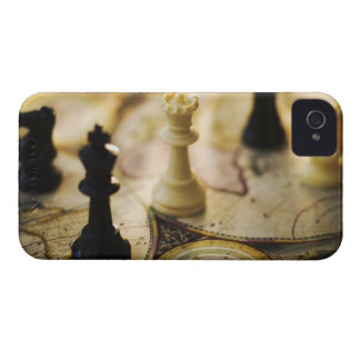 Chess pieces on old world map iPhone 4 Case-Mate cases