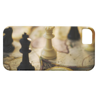 Chess pieces on old world map iPhone 5 cover