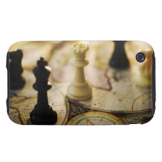 Chess pieces on old world map tough iPhone 3 case