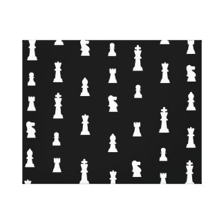 Chess pieces pattern - black and white stretched canvas print