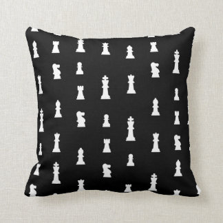 Chess pieces pattern - black and white cushion