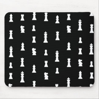 Chess pieces pattern - black and white mouse mat