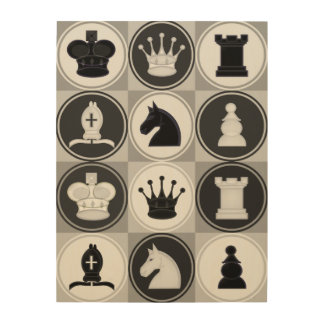 Chess Pieces Pattern Wood Print
