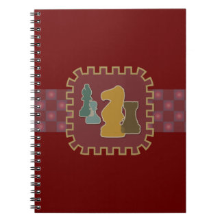 Chess Pieces Red Spiral Notebooks