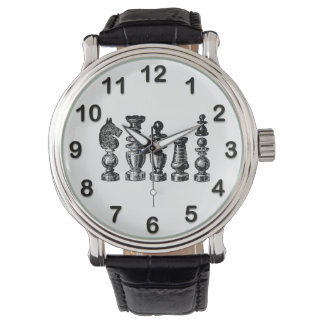 Chess Pieces Vintage Art Watch