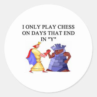 chess players round sticker