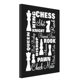 Chess Players Typography Design Canvas Print
