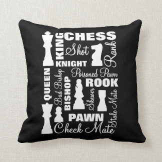 Chess Players Typography Design Cushion