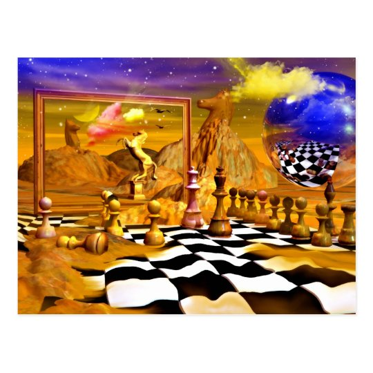 Chess Series, Chess Paintings, Chess art Postcard