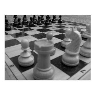 Chess set B&W Postcard