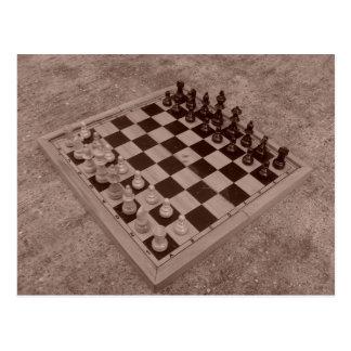 Chess set sepia postcard