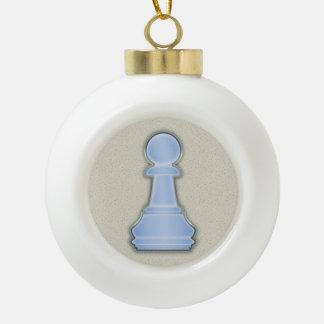Chess Shiny Blue Glass Chess Pawn Ceramic Ball Christmas Ornament