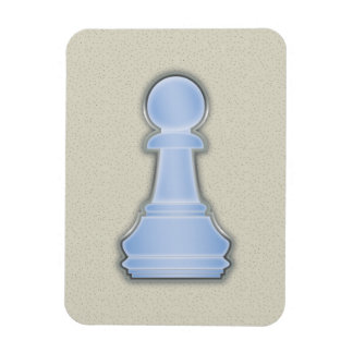 Chess Shiny Blue Glass Chess Pawn Rectangle Magnet