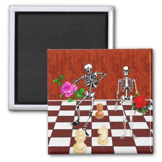 Chess Skeletons Square Magnet