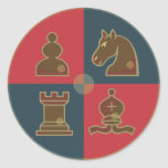Chess Squares Round Sticker