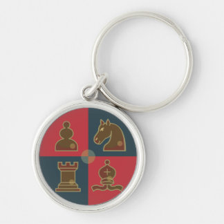 Chess Squares Silver-Colored Round Key Ring