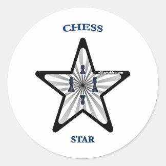 Chess Star Classic Round Sticker